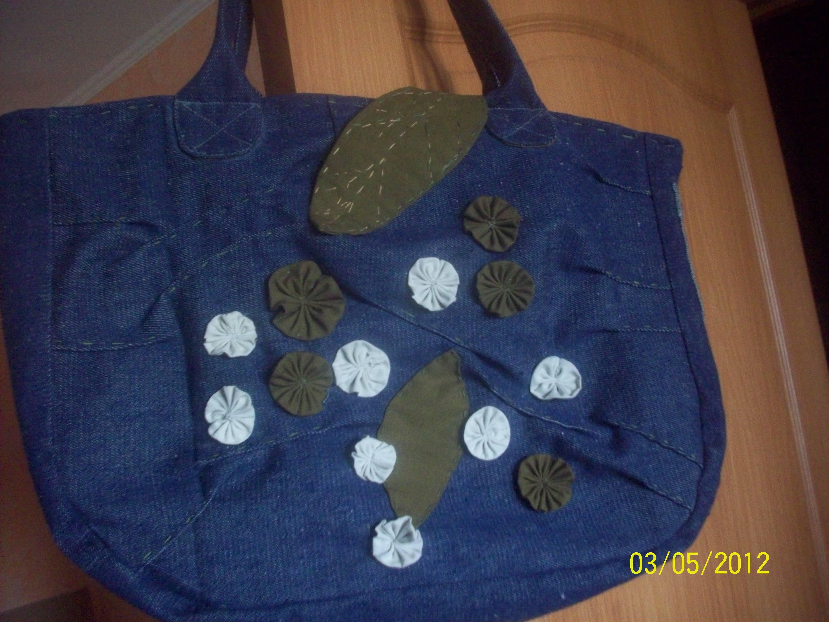 сумка из джинсы с цветочками