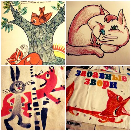 Коллаж коты, лисы, заяц, воробей