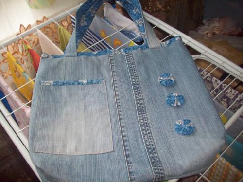 Сумка джинсовая с йо-йо