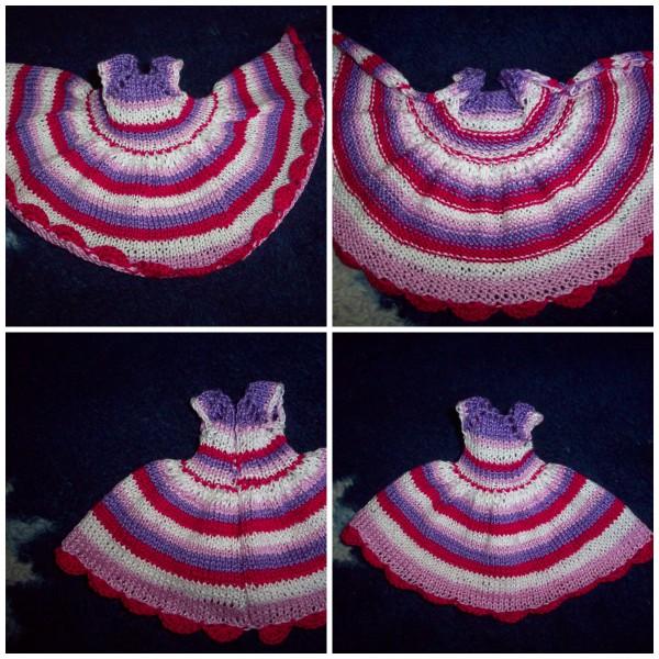 collage вязаное платье на куклу