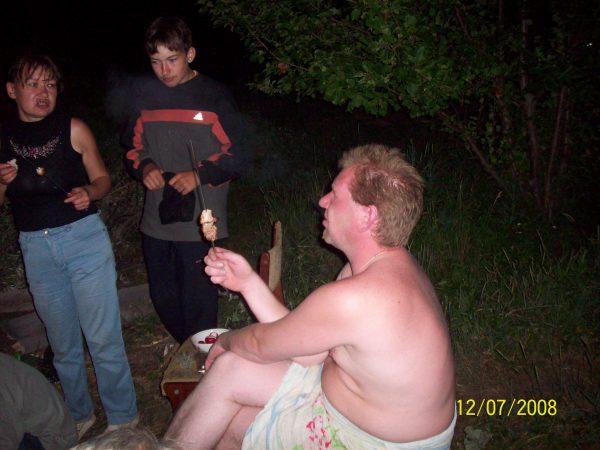 Серёжа после баньки, Люда и Лёшка